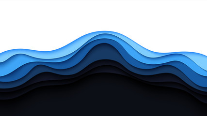 Blue abstract paper wave layer cut background.Paper art style of cover design for business banner template and material design.Vector illustration. Wall mural