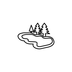 lake with trees icon. Element of simple icon for websites, web design, mobile app, info graphics. Thin line icon for website design and development, app development