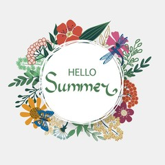 Beautiful Floral Hello Summer Poster with flowers, leaves, butterfly, dragonfly.