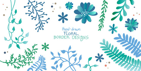 ivy vine and floral design elements of flowers ferns branches and creepers in silhouette vector outlines, elegant decorative border and corner leaves and plants in pretty hand drawn top view layout