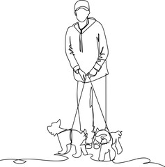 woman with dogs. single line drawing