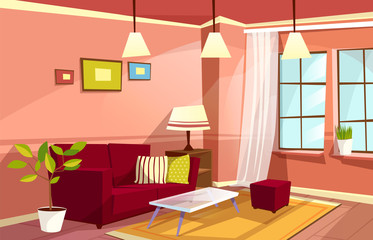 Vector cartoon living room interior background template. Cozy house apartment concept. Illustration with sofa pillow, bedside table with lamp, bookshelf, carpet plant in pot at window pictures at wall