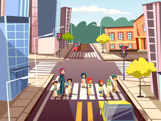 Pedestrians on crossroad vector illustration of Arab Muslim mother woman crossing street with kindergarten children on traffic light. Vector flat design of city road and buildings on traffic lane