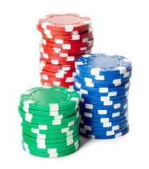 heaps of casino chips isolated on white background