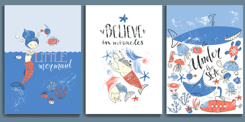 Vector textured under the sea posters. Mermaid fairytale.