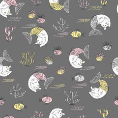 Cute little cat mermaid seamless pattern. Textured  illustration