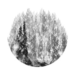 Watercolor picture of a coniferous forest, black silhouette of trees, pine, spruce, cedar. Abstract splash of black paint. On a white background. Round watercolor logo.