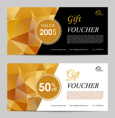 Two gold polygonal gift voucher vector template