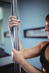 Pole dancer holding pole