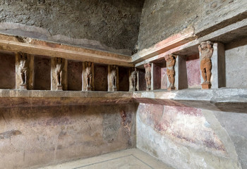 Interior of the buildings of Pompeii, destroyed by the volcano Vesuvius. Italy.
