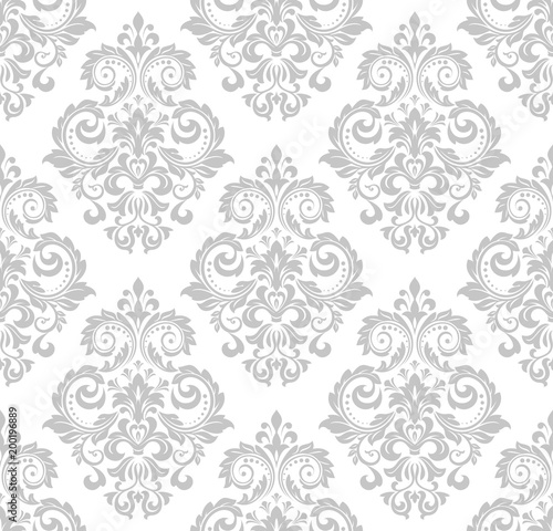 Wallpaper In The Style Of Baroque A Seamless Vector Background White And Grey Floral