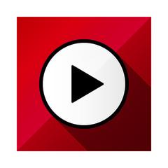 ビデオ動画再生ボタンのアイコンイラスト赤