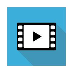 ビデオ動画再生ボタンのアイコンイラスト水色