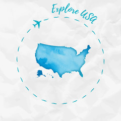 USA watercolor map in turquoise colors. Explore USA poster with airplane trace and handpainted watercolor USA map on crumpled paper. Vector illustration.