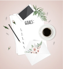 Top view goals list with notebook, cup of coffee on wooden desk. Vector illustration