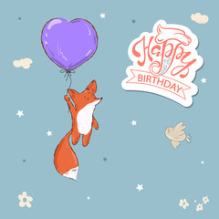 Happy Birthday. Beautiful greeting card calligraphy text with cute fox on balloon.