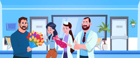Medical Doctor And Nurse Give Newborn To Happy Parents In Hospital Flat Vector Illustration
