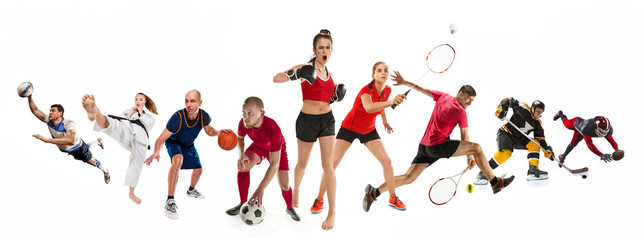 Sport collage about kickboxing, soccer, american football, basketball, ice hockey, badminton, taekwondo, tennis, rugby