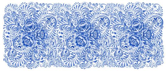 Russian painting gzhel Horizontal seamless pattern