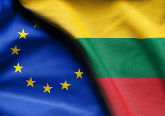 Flags of lithuania and european union