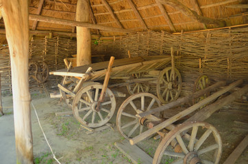 Old wooden cart is ready for goods to be loaded