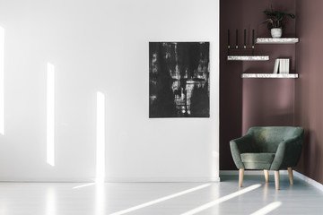 Living room with black poster