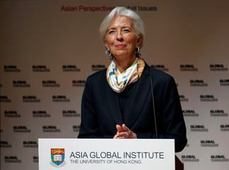 IMF Managing Director, Christine Lagarde, delivers a speech at the University of Hong Kong
