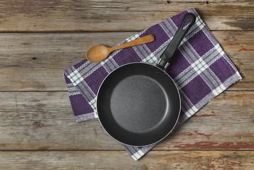 Empty pan frying pan kitchen napkin cooking background bla