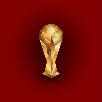 Golden  ball on the stand. Sports polygonal trophy illustration on a red background.