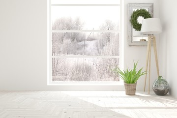 White empty room with decor and winter landscape in window. Scandinavian interior design. 3D illustration