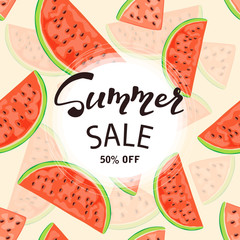Background with watermelon and lettering Summer sale