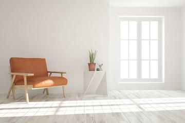 Inspiration of white minimalist room with orange armchair. Scandinavian interior design. 3D illustration