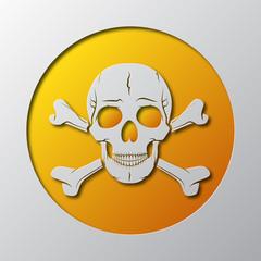 The Skull and crossbones is cut from the paper. Vector illustration.