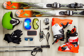 Image of skier objects on a wooden background.