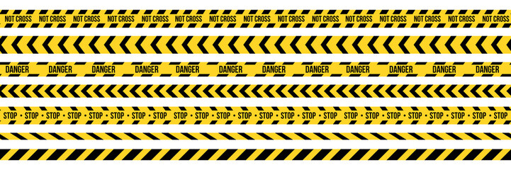 Creative vector illustration of black and yellow police stripe border. Set of danger caution seamless tapes. Art design line of crime places. Abstract concept graphic element. Construction sign. Wall mural