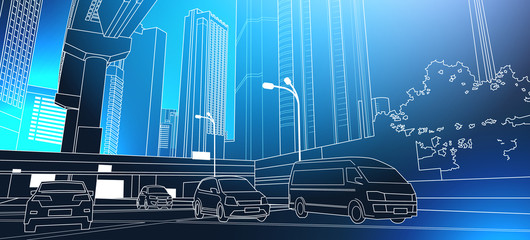 Modern City Road Thin Line Cityscape With High Skyscrapers On Blue Background Vector Illustration