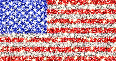 United States of America sparkling flag. Icon with American national colors with glitter effect in official proportions. Background design. Vector illustration. One of a series of signs