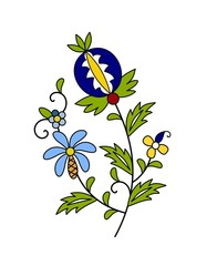 Traditional, modern Polish - Kashubian floral folk decoration vector