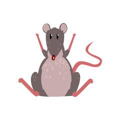 Cute grey mouse sitting on the floor with raised paws, funny rodent character vector Illustration on a white background