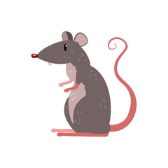 Cute funny mouse character vector Illustration on a white background