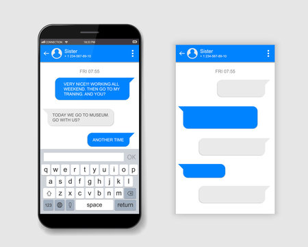 Creative vector illustration of messenger window. Social network talking art design. Mobile phone live chat boxes. Smartphone online app. Compose dialogues mockup. Abstract concept graphic element.