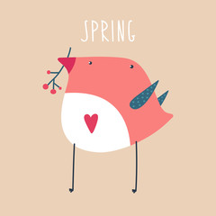 Vector bird wih branch in its beak. Spring illustration.
