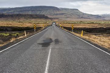 Islanda, la terra dei vichinghi. Paesaggio con montagna e strada.