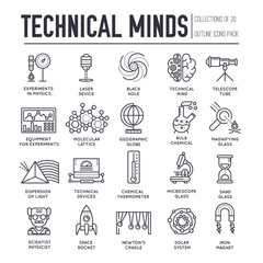 Technical minds collection of thin line icon set. Vector flat outline physics and mathematics equipment and workshop items concept design