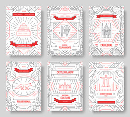 Poland thin line brochure cards set. Architecture template of flyear, magazines, posters, book cover, banners. Country outline invitation concept background. Layout quality modern pages