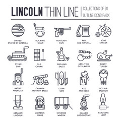 President Abraham Lincoln day with historical XIX (19) century elements thin line icon set. Vector people and traditional of USA object outline cover concept design. National culture traditions