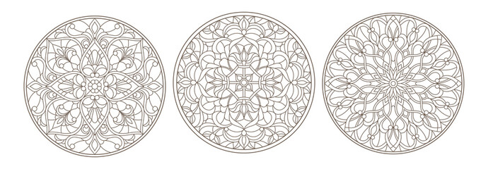 Set contour illustrations of stained glass, round stained glass floral ornaments , dark outline on a white background