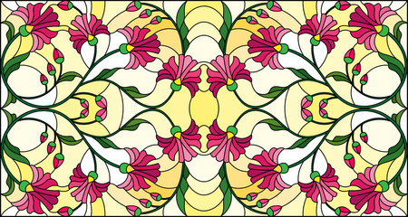 Illustration in stained glass style with abstract pink flowers on a yellow  background,horizontal orientation