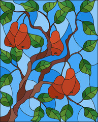 Illustration in the style of a stained glass window with the branches of  red pear  tree , the fruit branches and leaves against the sky