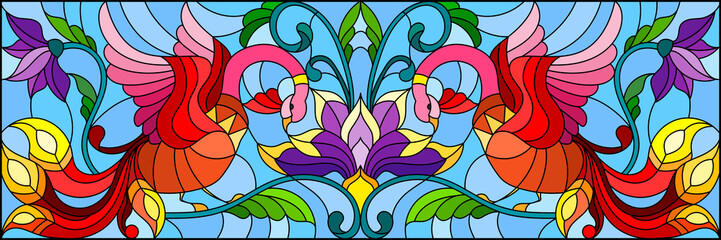 Illustration in stained glass style with abstract red birds and purple flowers on a light background , mirror, horizontal image